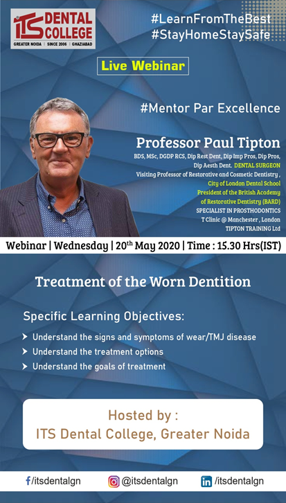 "Live Webinar on ""Treatment of Worn Dentition"" on 20th May, 2020"