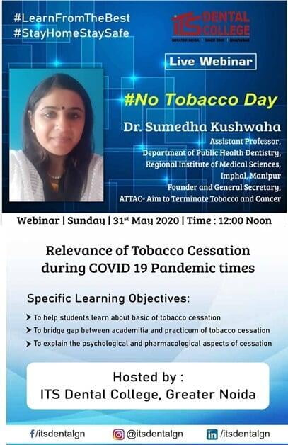 Live Webinar on World No Tobacco Day on 31.05.2020