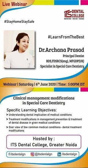 "Live Webinar on ""Clinical Management Modification in special Care Dentistry"" on 6th June 2020"