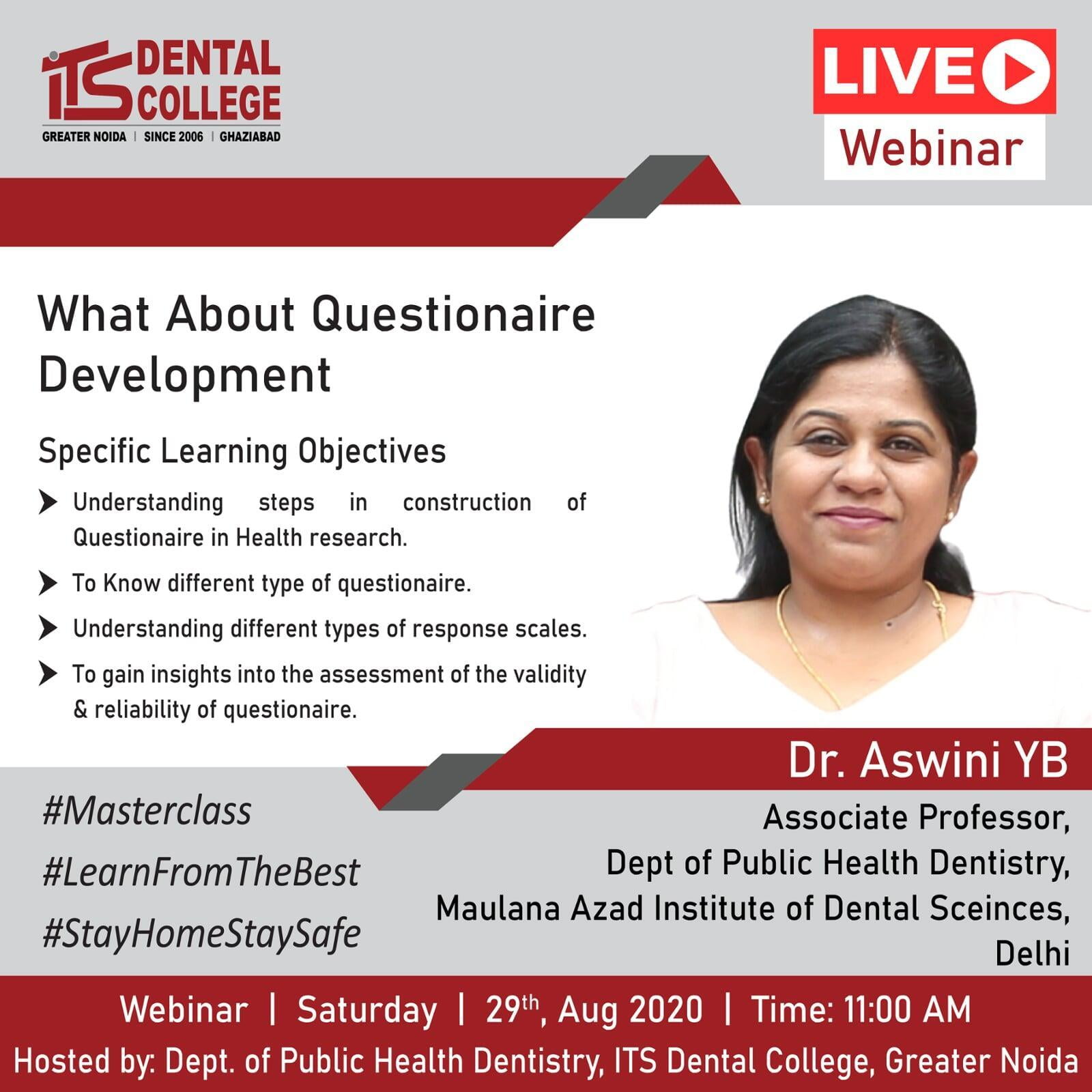 "Live Webinar on ""What about Questionnaire Development"" on 29th August 2020"