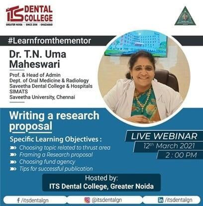 "Live webinar on the topic ""Writing a Research Proposal"" on 12th March 2021"