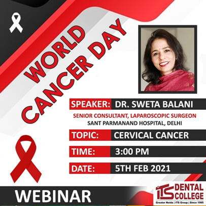 "Live Webinar on the topic ""Cervical Cancer"" on 5th February 2021."